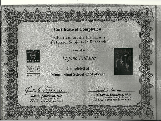 "Certificate of Completion ""Education on the Protection of Human Subjects in Research"" of Prof. S. Pallanti"
