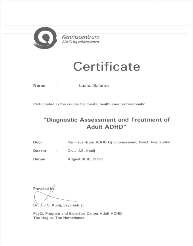 "Certificato ""Diagnostic Assessment and Treatment of Adult ADHD"" Dott.ssa Salerno"