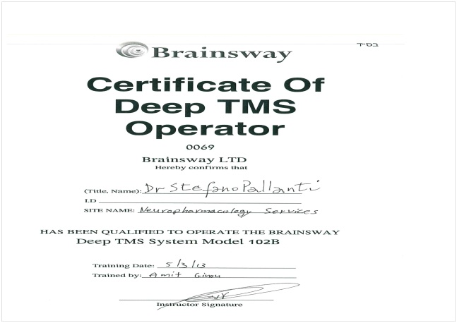 Certificate of Deep TMS Operator
