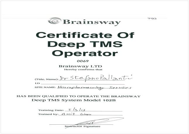 Certificate of Deep TMS Operator