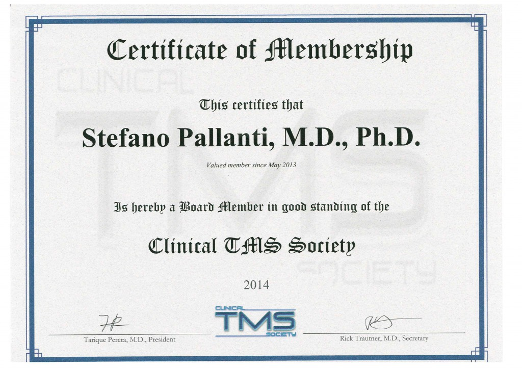 Certificate of Membership of the Clinical TMS Society